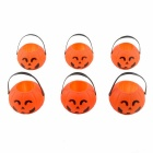 Portable Smile Face Pumpkin Barrels - Orange + Black (6PCS)