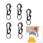 FURA Outdoor D Style Carabiner w/ Keyring fo Travel - Black (5PCS)