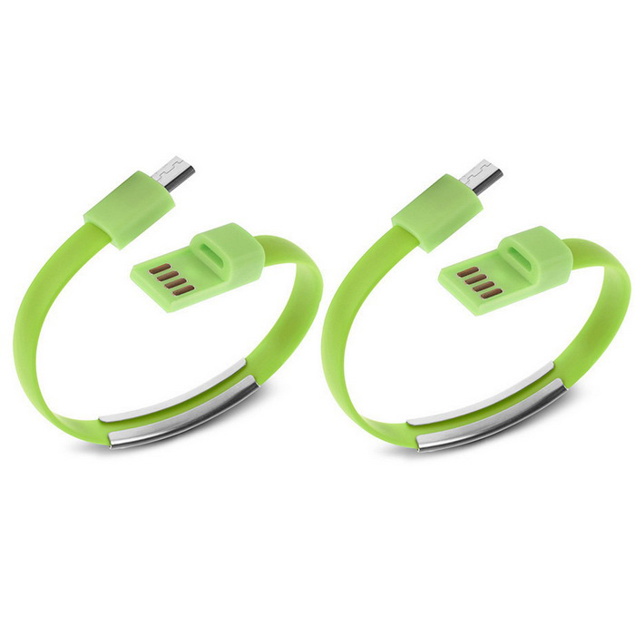 Micro USB Bracelet Data Charging Cable - Green (2 PCS / 16.9cm)