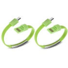 Micro USB Bracelet Data Charging Line Cable for Cellphone Android - Green (2 PCS / 16.9cm)