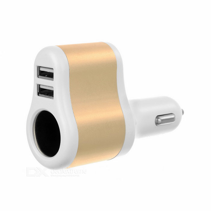 5V 3.1A Dual USB Car Charger + Micro USB Data Cable - White + Golden