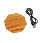 Universal Environmental Wooden Octagon Wireless Charger - Wood Color