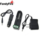FandyFire Smart 18650 Li-ion Battery Charging Stand + In-Car Charger + Travel Charger Set - Black