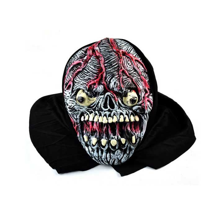 Horrible Blood Skull Rubber Mask for Cosplay Costume Party - Black
