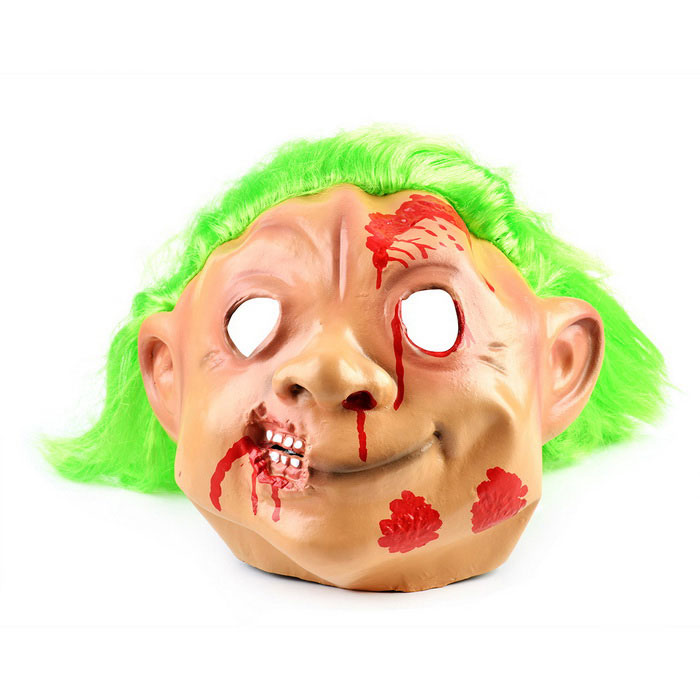 Halloween Cosplay Green Hair Ghost Rubber & Nylon Face Mask - Green