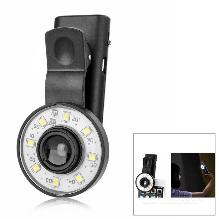 S-What Wide Angle Fisheye LED Fill Light for Cellphones - Black