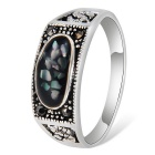 Xinguang Unique Broken Stones Design Alloy Ring for Women - Silver (US Size 8)