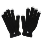 LED Rave Light Finger Lighting Flashing Glow Gloves - Black