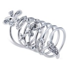 Xinguang White Crystal Butterfly Decorated Finger Ring for Women - Silver (US Size 8)