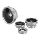 Clip-on 0.4X + 0.67X Wide Angle + Fish Eye + Macro Camera Lens -Silver