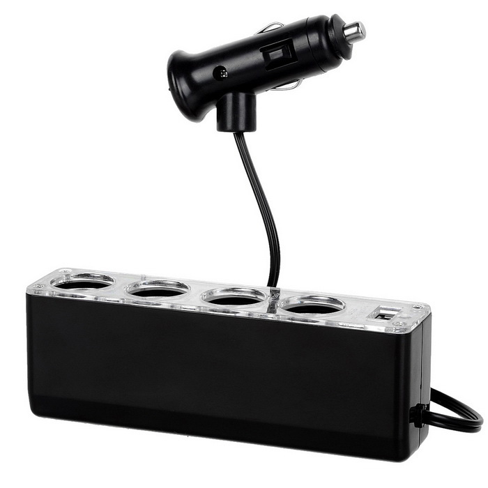 Jtron 4-Socket &amp; USB Charger &amp; Cigarette Lighter Car Charger - BlackCar Cigarette Lighter<br>Form ColorBlackModelN/AQuantity1 DX.PCM.Model.AttributeModel.UnitMaterialPlastic + ironShade Of ColorBlackInput Voltage12~24 DX.PCM.Model.AttributeModel.UnitOutput Voltage5 DX.PCM.Model.AttributeModel.UnitSocket Output Current5 DX.PCM.Model.AttributeModel.UnitUSB Output Voltage5 DX.PCM.Model.AttributeModel.UnitOutput Current500 DX.PCM.Model.AttributeModel.UnitCable Length60 DX.PCM.Model.AttributeModel.UnitInterface/PortUSB 2.0Packing List1 x Cigarette lighter car charger<br>