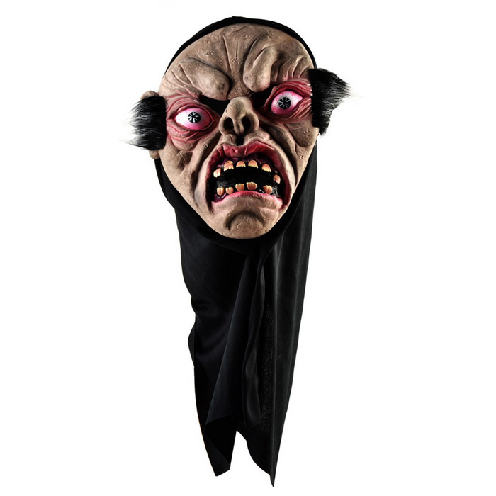 Halloween Cosplay Red Eyes Big Mouth Monster Face Mask - Black
