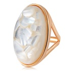 Xinguang Oval White Stone Inlaid Ring for Women - Golden (US Size 8)