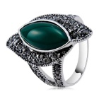 Xinguang Twisted Emerald Style Decorated Ring - Silver (US Size 8)