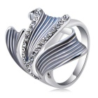 Xinguang Classical Lotus Nut Crystal Inlaid Finger Ring for Women - Silver (US Size 8)