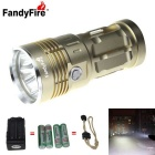 FandyFire 3-LED 3000lm Cool White 3-Mode Super Bright Flashlight - Golden (4x18650)