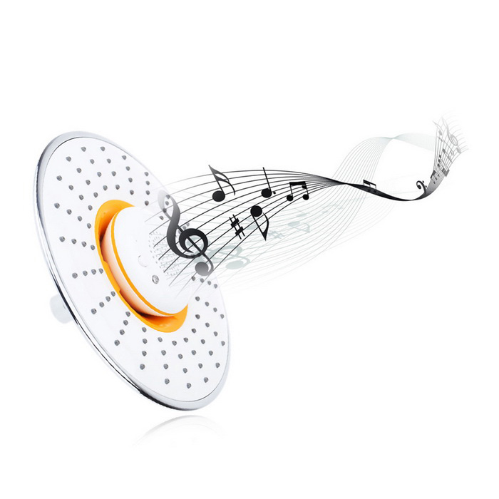 Multifunctional Musical Shower Head / Wireless Speaker for Answering Phone & Changing Songs - White