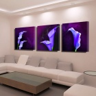 Bizhen Purple Lotus Wall Painting Canvas Wall Art Picture Home Decoration Living Room Canvas (3PCS)