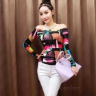 Women's Korean Style Cotton Blended Printing Long-Sleeve Off Shoulders Top - Multicolor (L)