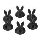 Rabbit's Ears Shape Wire Cord Line Cable Management Desktop Clip Holder Organizer - Black (6pcs)