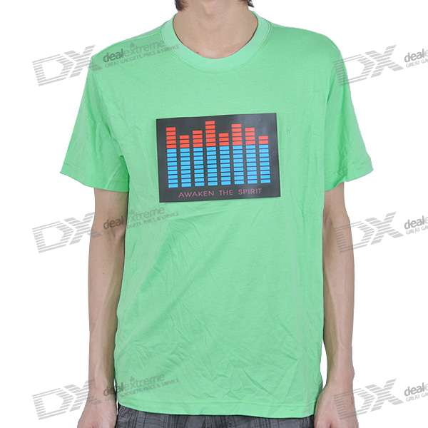 Sound and Music Activated Spectrum VU Meter EL Visualizer T-shirt - Green/M - Size (2*AAA)