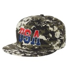 "Unisex Cool ""USA"" Pattern Camouflage Hip-Hop Baseball Flat Peak Cap Hat - Army Green"