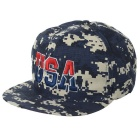 "Unisex Cool ""USA"" Pattern Camouflage Hip-Hop Baseball Flat Peak Cap Hat - Navy Blue"