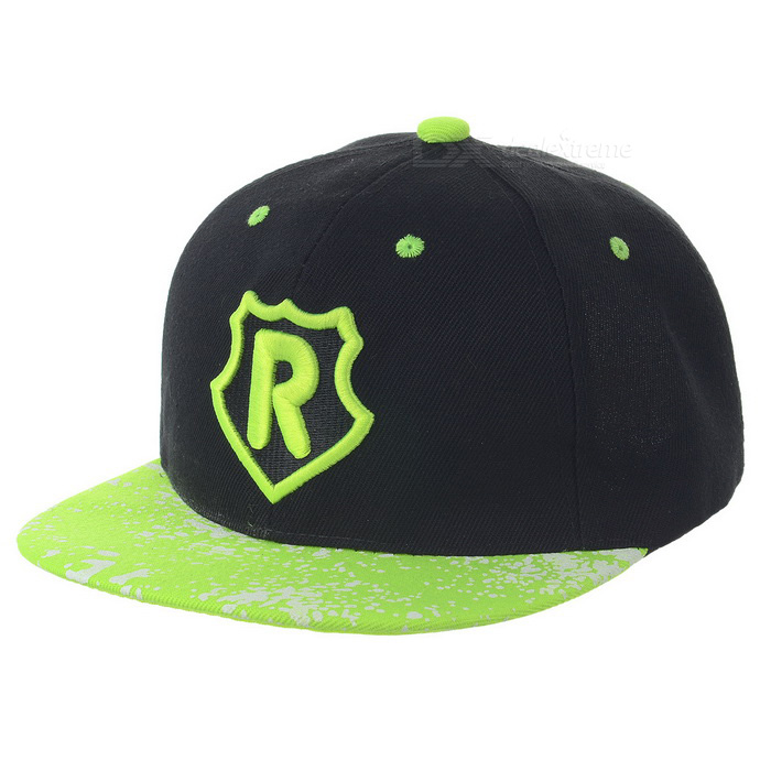 R Pattern Fashion Outdoor Sports Cotton Flat Brim Hat - Green + Black