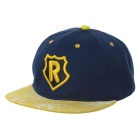R Pattern Fashion Outdoor Sports Cotton Flat Brim Baseball Cap Hat - Yellow + White