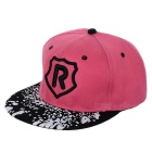 R Pattern Fashion Outdoor Sports Cotton Flat Brim Hat - Red + Black