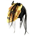 Halloween Cosplay Swollen Forehead 4-Horns Monster Face Mask - Yellow