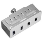 Clip-on USB 3.0 4-Port cubo de alumínio - prata