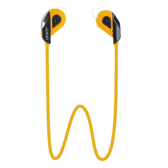 UHAPPY S02 Bluetooth In-Ear Sports Headphone w/ Mic - Yellow + BlackHeadphones<br>Form  ColorYellow + BlackModelS02MaterialPlasticQuantity1 DX.PCM.Model.AttributeModel.UnitShade Of ColorYellowEar CouplingIn-EarBluetooth VersionOthers,Bluetooth V4.1Operating Range10mRadio TunerNoMicrophoneYesSupports MusicYesConnects Two Phones SimultaneouslyNoApplicable ProductsIPHONE 5,IPHONE 4,IPHONE 4S,IPHONE 3G,IPHONE 3GS,IPOD,IPAD,Universal,Cellphone,IPHONE 5S,IPHONE 5CBuilt-in Battery Capacity 500 DX.PCM.Model.AttributeModel.UnitBattery TypeLi-polymer batteryTalk Time5 DX.PCM.Model.AttributeModel.UnitMusic Play Time5 hoursStandby Time96 DX.PCM.Model.AttributeModel.UnitPower AdapterWithout Power AdapterCertificationCEPacking List1 x Headset1 x USB Cable(35CM)1 x English User Manual 1 x Pair of Earbud cover<br>
