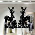 Christmas Deer Pattern Living Room Bedroom Windows Removable Decorative Wall Sticker - Black
