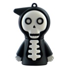 Cartoon Death USB 2.0 Flash Drive - Black + White (16GB)