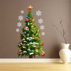 Christmas Tree Pattern Removable Wall Sticker Decal - Green + White