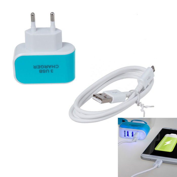 5V 3.1A 10W 3-USB Charger + 1m V8 Data Cable - Blue (EU Plug)