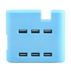 TYD-533 6-Port USB Charger for Android / iOS Devices - Blue (US Plug / 92cm)