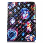 Fashion Patterned Protective PU Leather Case w/ Stand & Card Slots for IPAD AIR 2 - Black + Blue