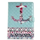Fashion Patterned Protective PU Leather Case w/ Stand & Card Slots for IPAD AIR 2 - Blue + Red