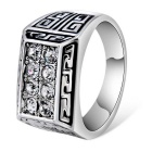 Xinguang Retro Double Row Crystal Inlaid Finger Ring for Women - Silver (US Size 8)