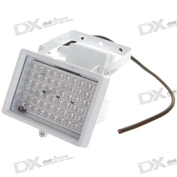 60-LED Infrared Security Camera Floodlight - White cjwy 158 12v 48w 60 degree infrared array camera led light board black