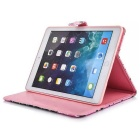 Protective PU Case w/ Stand, Card Slots for IPAD AIR 2 - Pink + Black