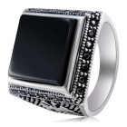 Xinguang Square Finger Ring for Women - Black (US Size 8)