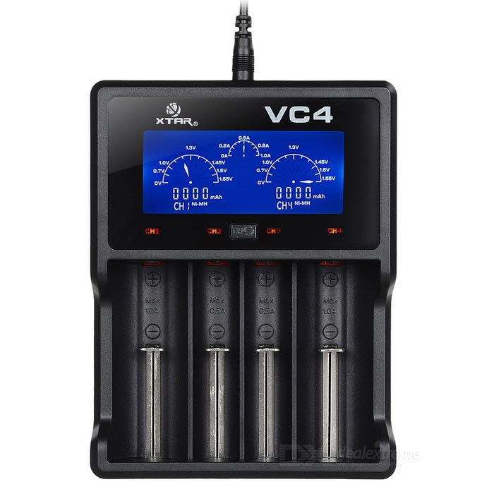 Xtar VC4 USB 4-Slot Li-ion Charger w/ LCD Screen for All Batteries