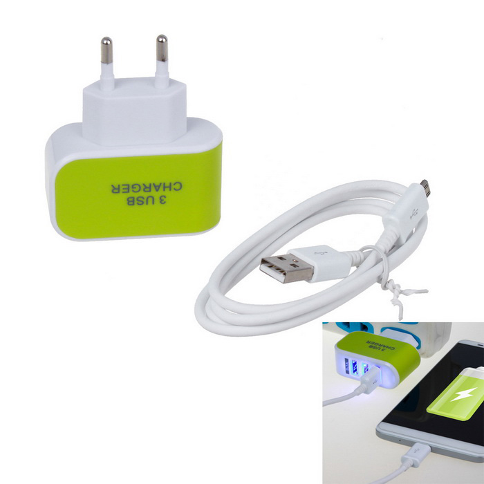 5V 3.1A 10W 3-USB Charger + 1m V8 Data Cable - Green (EU Plug)