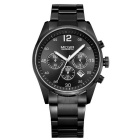 MEGI Men's Waterproof Tempered Steel Wristband Quartz Watch - Black