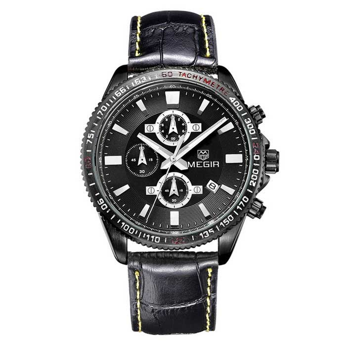 MEGIR Men's Genuine Leather Strap Watch w/ 3 Sub-Dials - Black