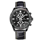 MEGIR2015 Men's Fashion Genuine Leather Strap Analog Quartz Wrist Watch w/ 3 Sub-Dials - Black