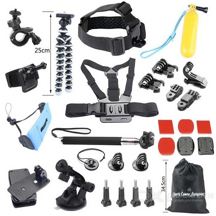 29-In-1 Sport Camera Accessories Kit for GoPro Hero, 4 Session - Black
